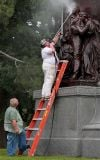 Confederate memorial in Forest Park marked with paint