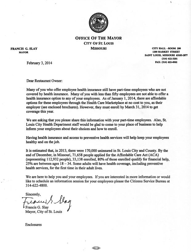 mayor slay 39 s health insurance letter. Black Bedroom Furniture Sets. Home Design Ideas