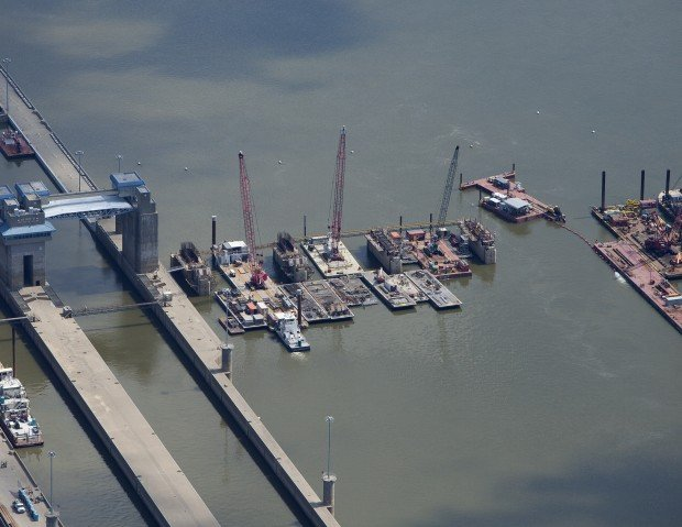 The lower pier shells 1 through 4 to the right of the locks being prepared to be filled with concrete at the Olmsted Locks and Dam construction project on the Ohio River. Photo courtesy of the U.S. Army Corps of Engineers