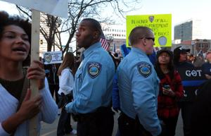Pro-police rally in Clayton draws supporters, protesters