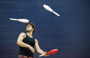 Two St. Louis jugglers competing in championship finals