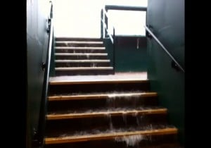 Raw video: Flooding in the Cardinals dugout