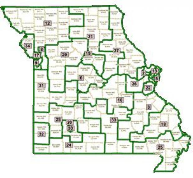 Proposed New Map For Missouri State Senate Districts