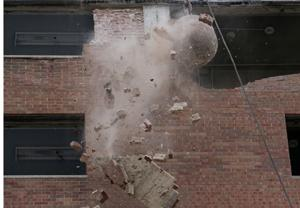 Wrecking ball takes down Blumeyer high-rise