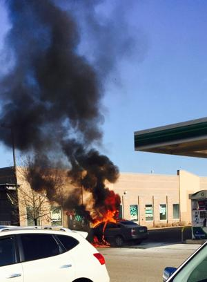 Update: Car goes up in flames near gasoline pumps