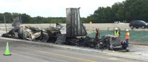 Semi burns on I-35 in Troy