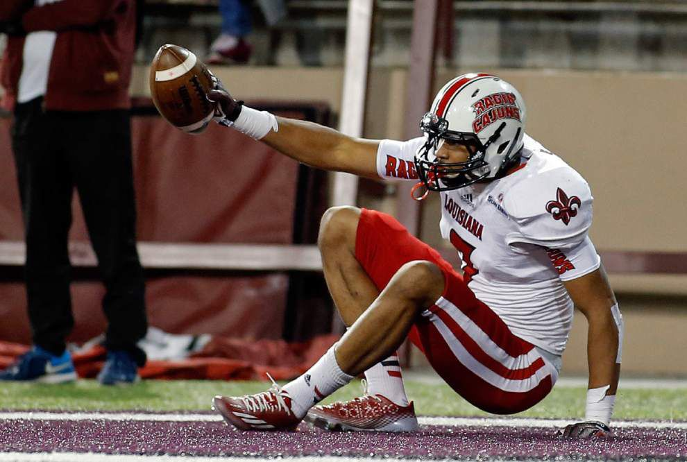 Jared Johnson's two leaping TD grabs help build Cajuns' confidence in him _lowres