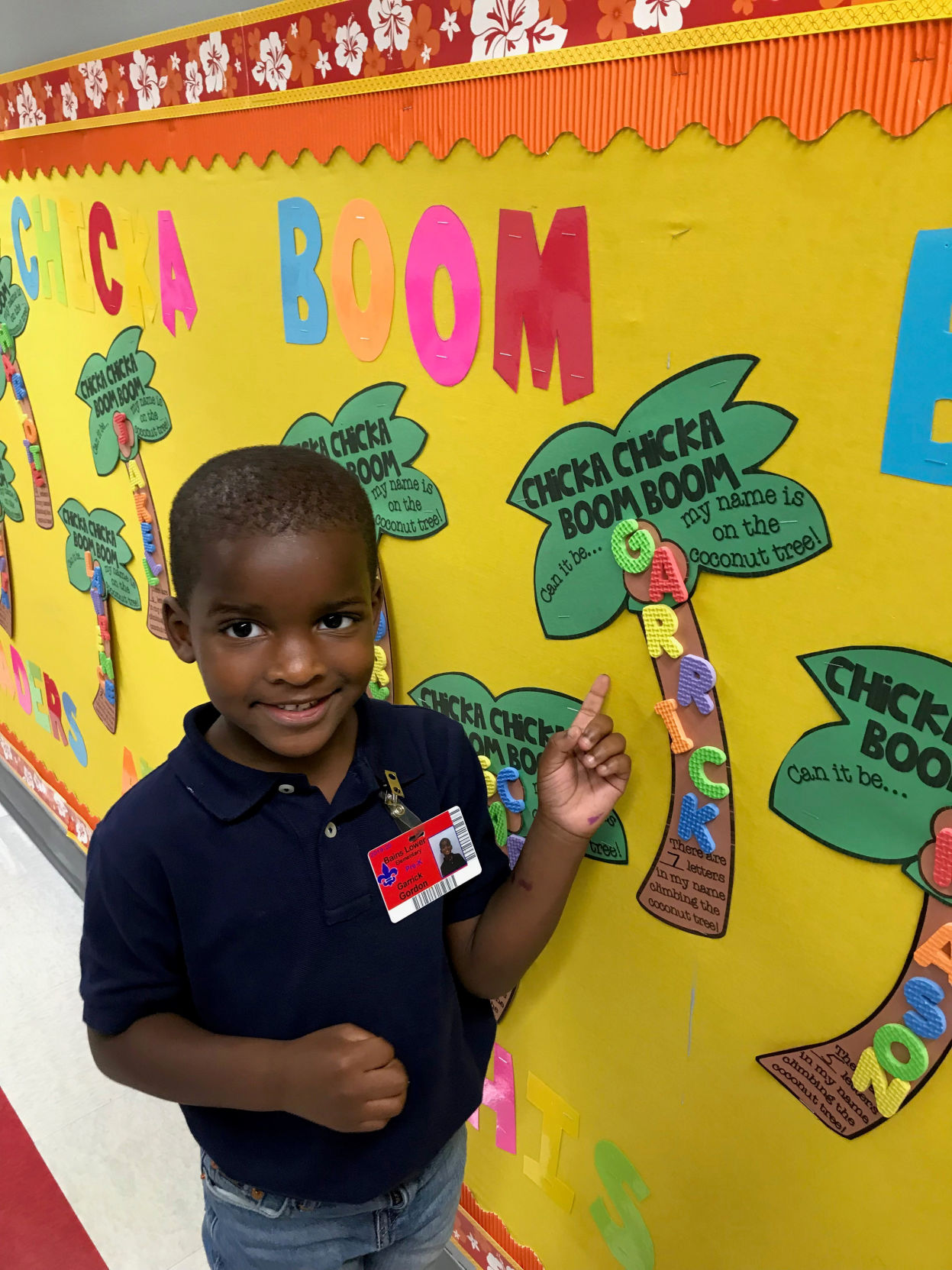 Bains Lower Elementary School displays student's art work on bulletin board