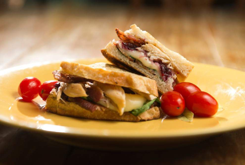 Turkey, Brie, Cranberry Sauce, Spinach and Bacon Sandwich _lowres