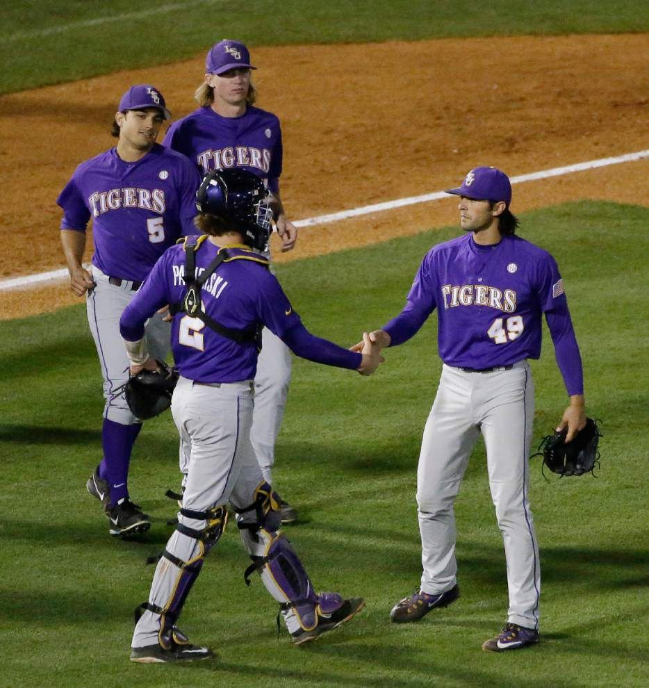 Deviating from its pitching plan, LSU's bullpen lifts the Tigers to back-to-back wins at the SEC tournament _lowres