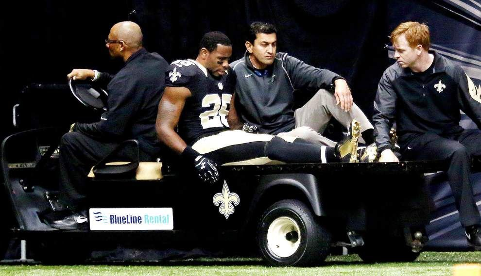 Saints' already thin safety corps dealt another blow after Rafael Bush breaks leg in loss to Bengals _lowres
