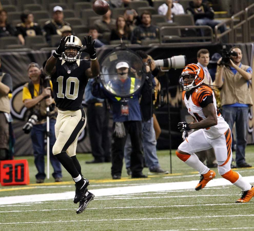Saints receiver Brandin Cooks has begin catching passes, lifting weights _lowres
