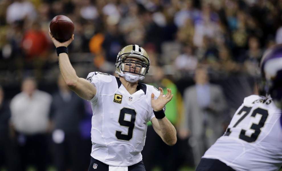 Saints quarterback Drew Brees hasn't been throwing the ball deep as often this season as in the past _lowres