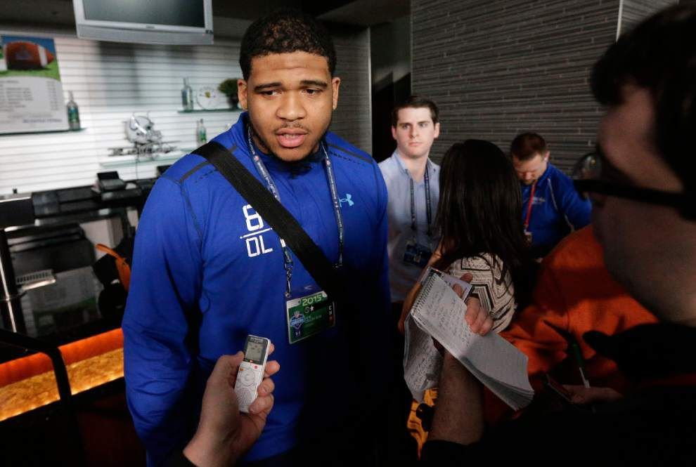 Source: Former LSU OL La'el Collins leaves NFL draft in Chicago; will meet with police about pregnant woman's shooting death _lowres