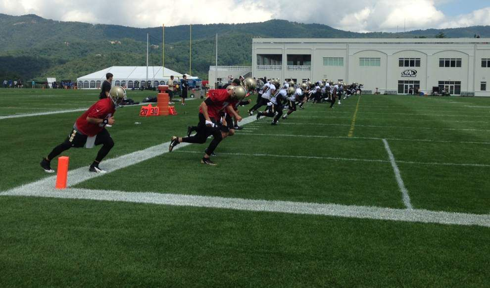 Passing game shines, sets tone in Saints' first workout _lowres