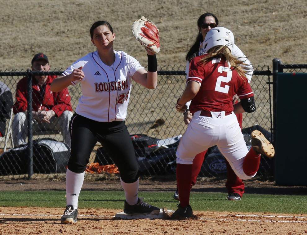 Ragin' Cajuns softball team earns doubleheader split at Alabama _lowres