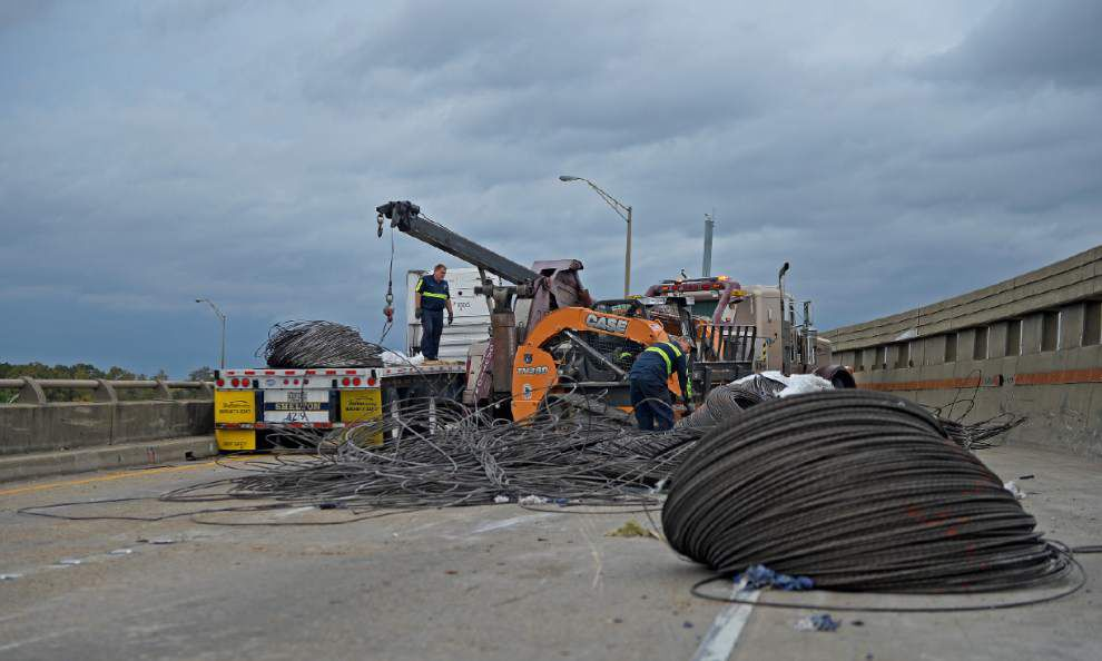 I-10 west reopens after truck spills cable wire _lowres