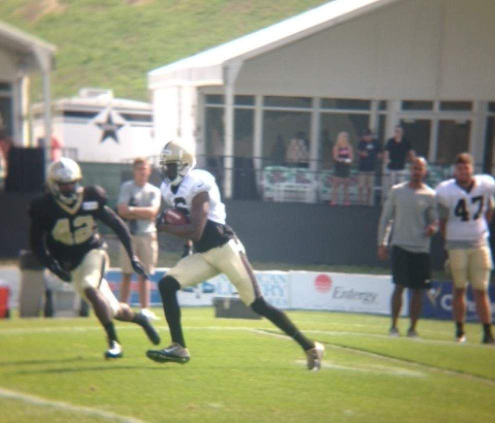 Saints defense gets physical in Thursday's practice _lowres