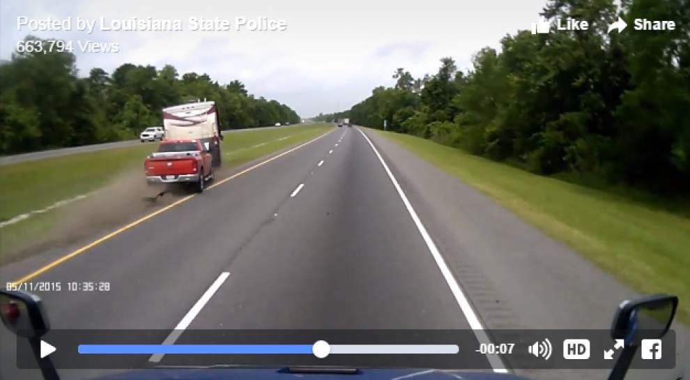 Video captures motorhome overturning on Interstate 10 east of U.S. 61 in Ascension Parish _lowres