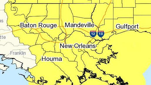 Tornado watch in effect for most of Louisiana until early Saturday morning