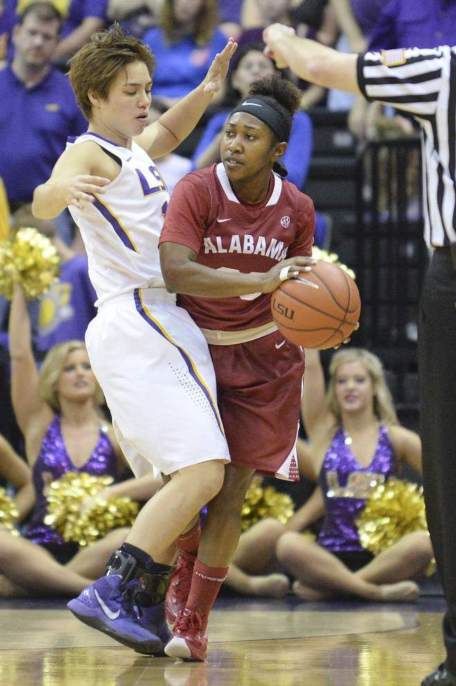 LSU women handle Alabama 51-39 for their fourth straight win _lowres