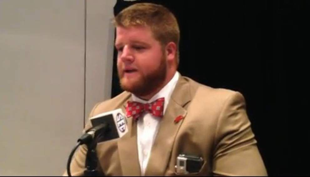 Video: University of Arkansas lineman Brey Cook talks Razorback football for 2014 _lowres