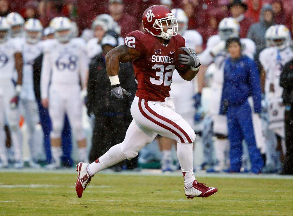 Oklahoma freshman Samaje Perine breaks Melvin Gordon's single-game rushing record _lowres