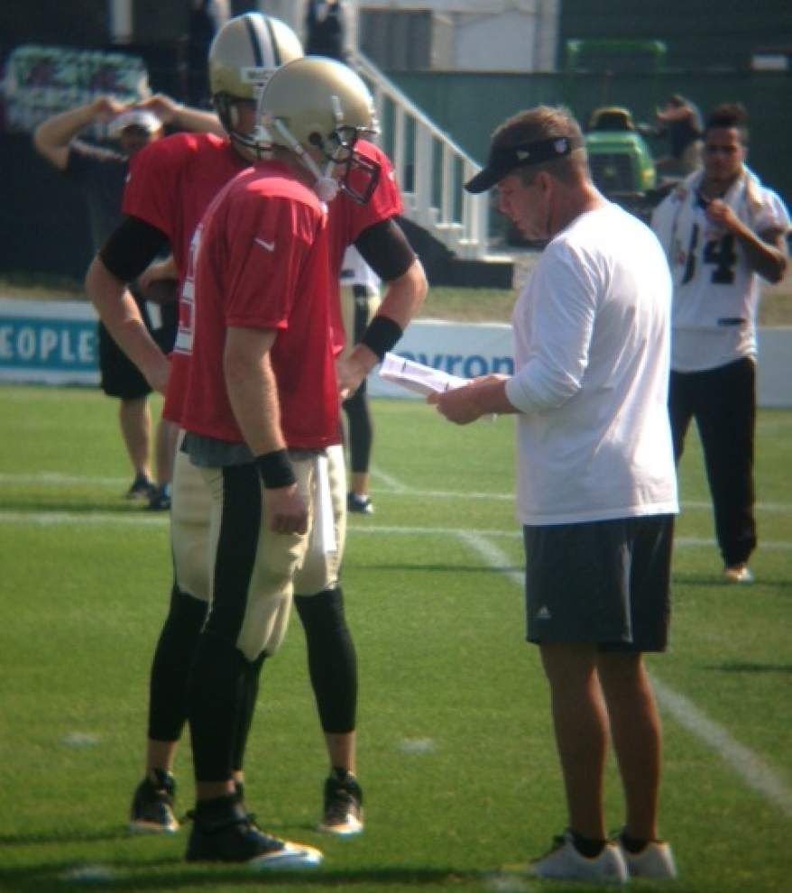 Saints coach Sean Payton says team won't change things just to change, such as moving training camp _lowres