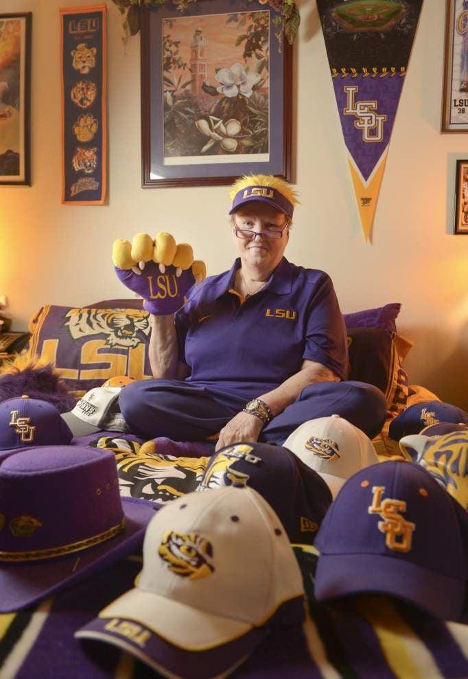LSU superfan Sharon Leino's home wears what she wears: Purple and Gold _lowres