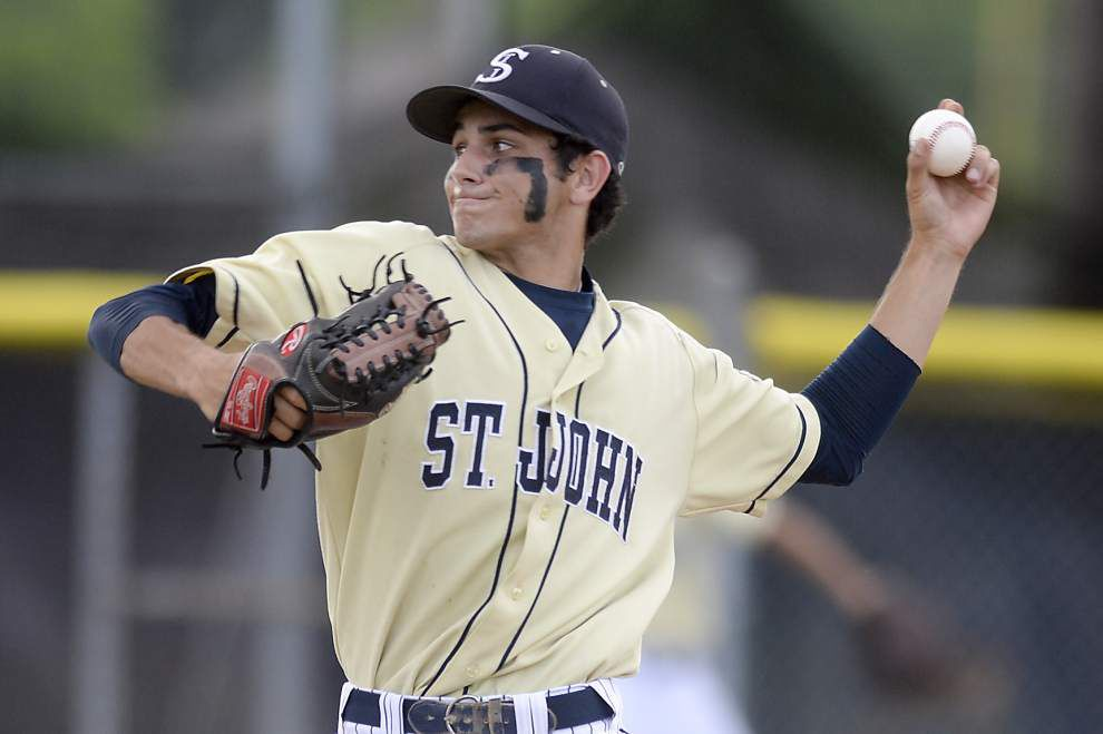 As pitcher, quarterback St. John's Hunter Schnebelen used to spotlight _lowres