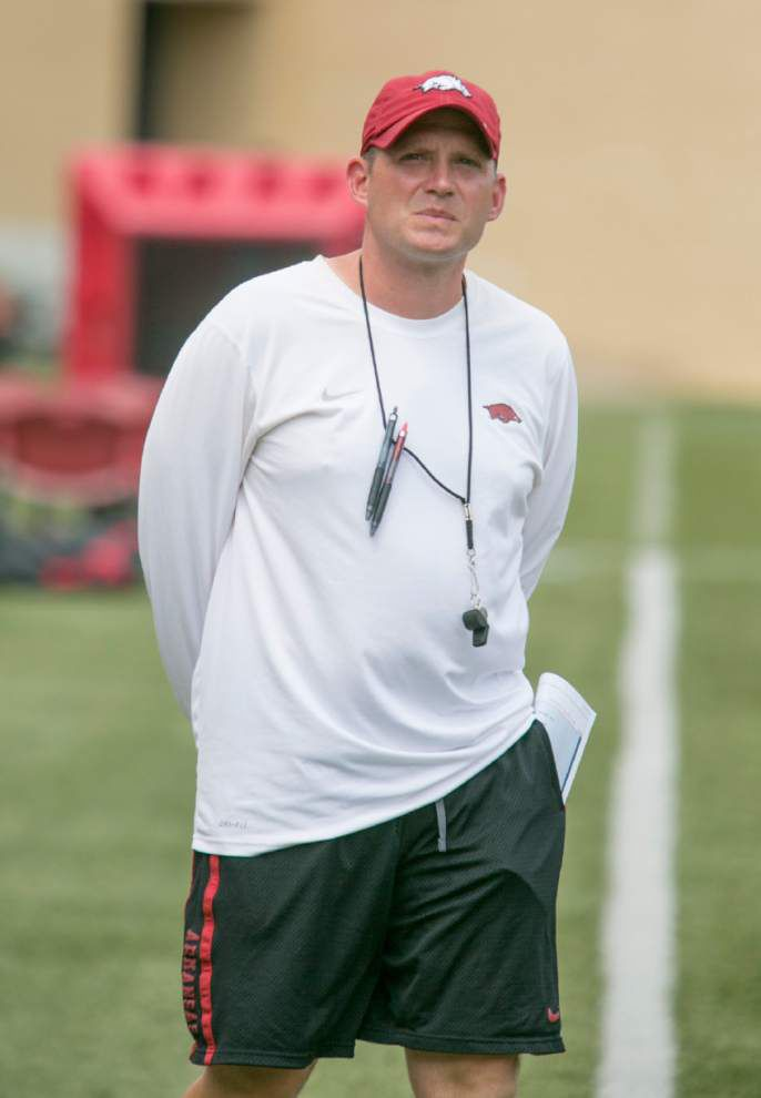 Robb Smith rebuilding Arkansas defense _lowres
