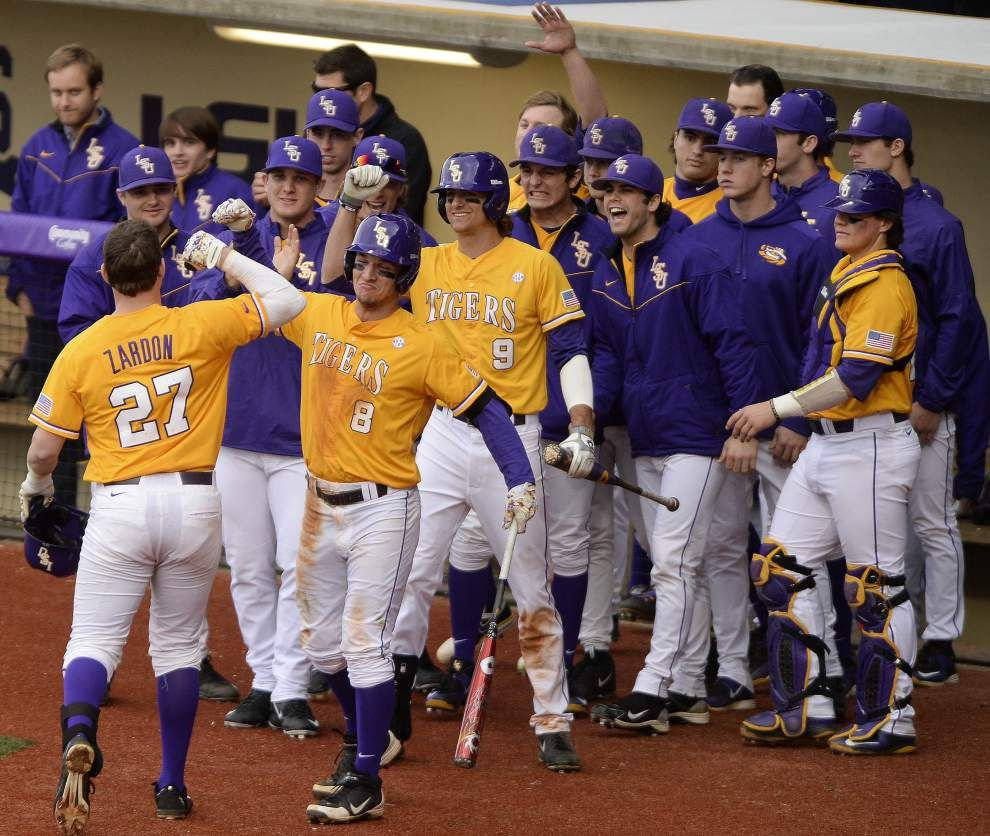 Ex-LSU football player Jared Foster pumps up Tigers, powers baseball team in wins over Boston College _lowres