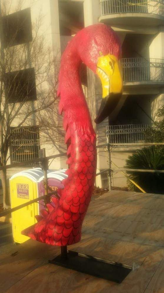 Stolen: One 10-foot flamingo head; Last seen: Chilling downtown on Saturday; Answers to the name of Flessie _lowres