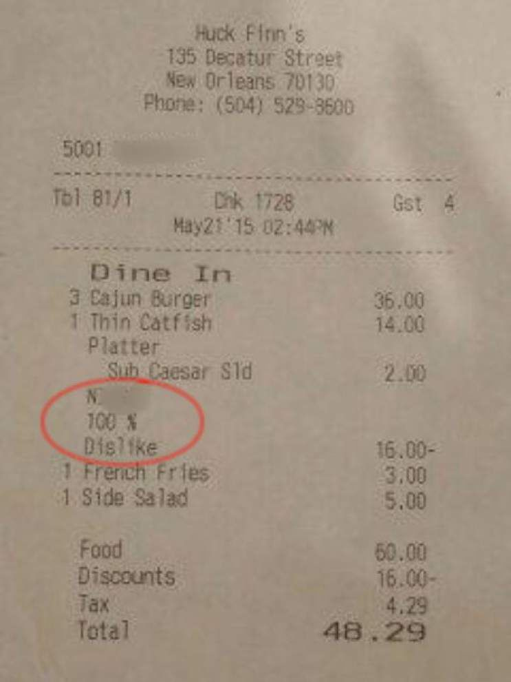 WWL-TV report: An African-American lunch customer gets a racist receipt at Huck Finn's Restaurant & Sports Bar in French Quarter _lowres