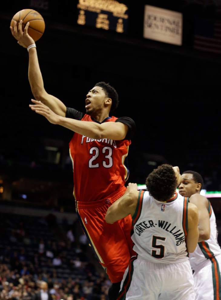 Anthony Davis' 43 points power Pelicans to 114-103 victory in Milwaukee _lowres