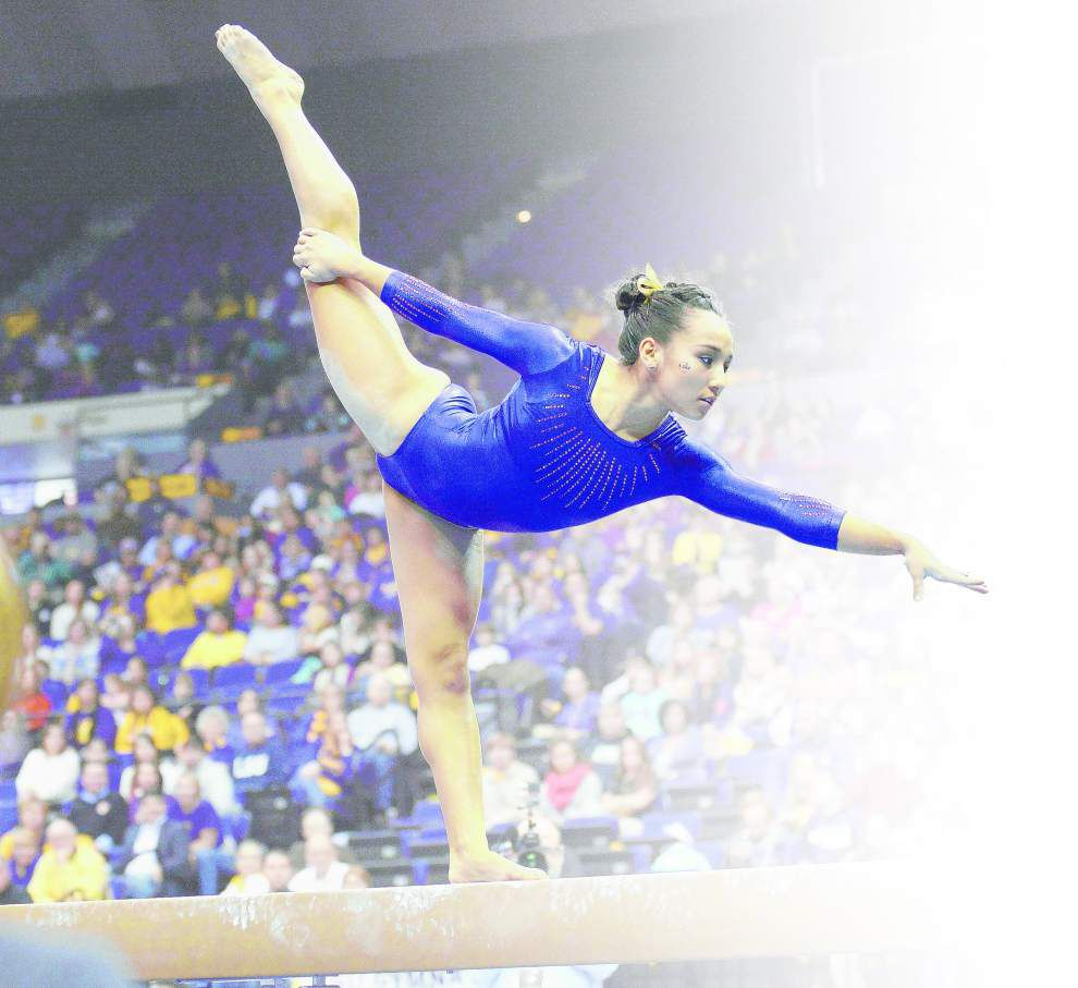LSU freshman gymnast Myia Hambrick finding her comfort zone as Tigers host No. 2 Florida _lowres