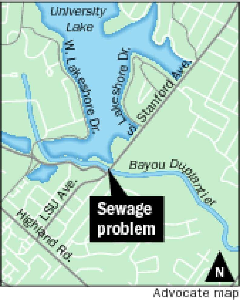 Sewage leak into Bayou Duplantier causes black water, foul odor; Baton Rouge officials cleaning up mess after plugging leak _lowres