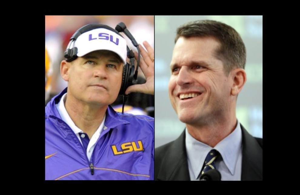 Sporting News report: 2015-'16 Bowl projections, Michigan vs. LSU; a Les Miles, Jim Harbaugh matchup in the Outback Bowl _lowres