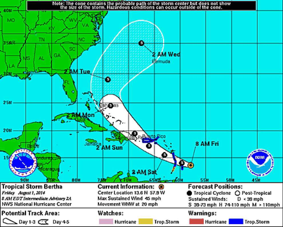 Tropical Storm Bertha approaching the Caribbean _lowres