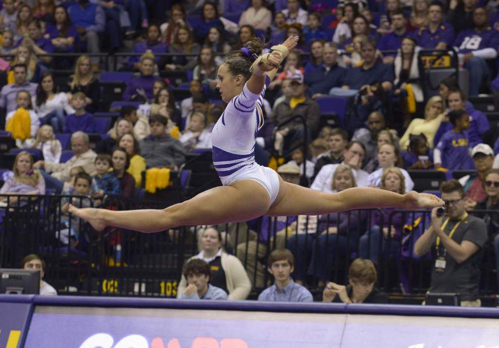 Rheagan Courville leads LSU gymnastics team to a throttling of Missouri _lowres