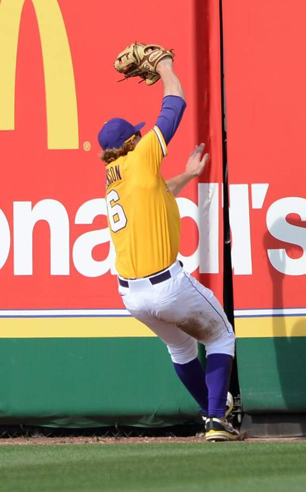 Gun show: LSU outfielders have been showing off their arms in game-saving plays _lowres