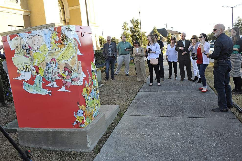 Lafayette artists transform drab traffic light boxes into whimsical works of art _lowres