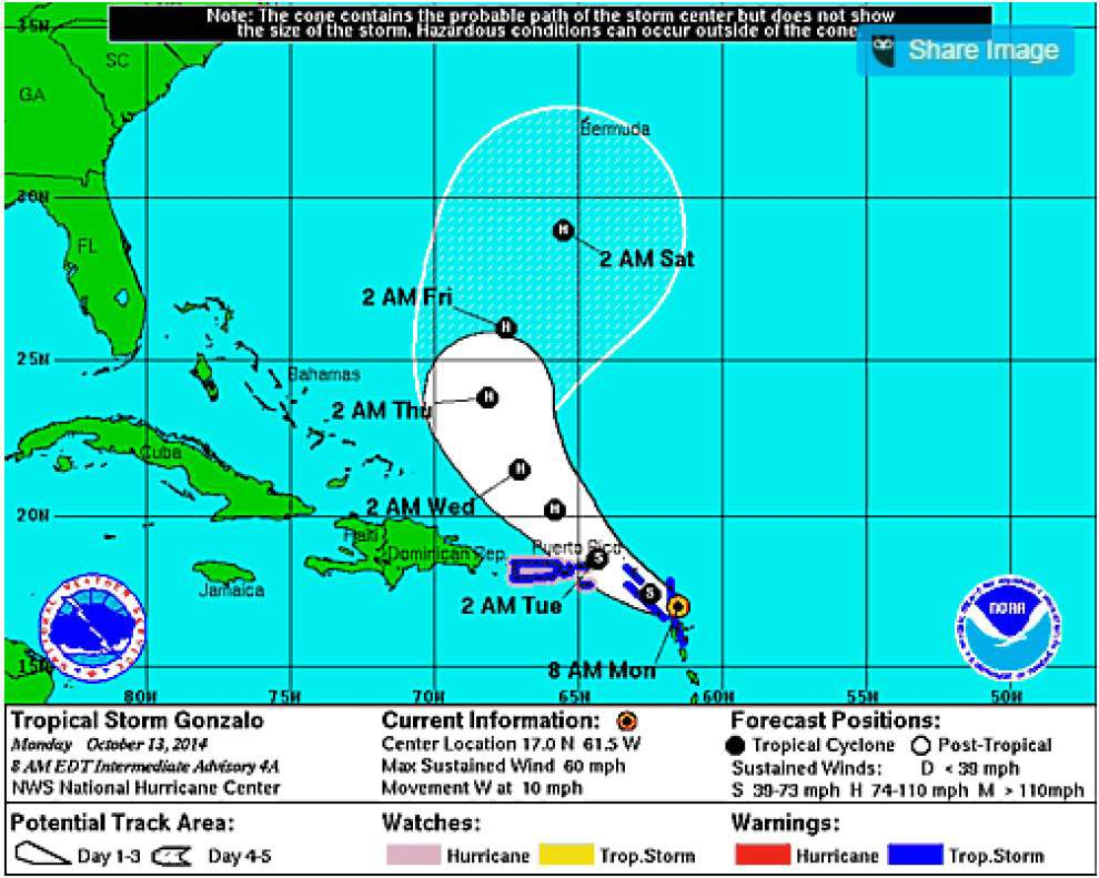 Tropical Storm Gonzalo sweeps into Caribbean _lowres