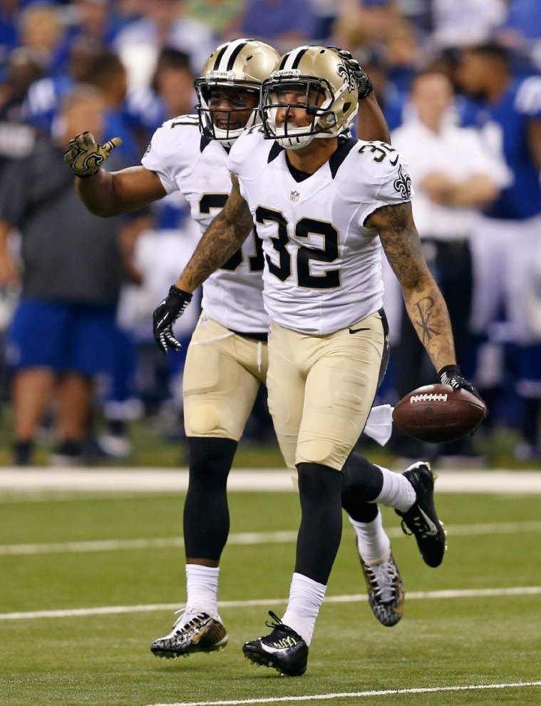 Saints defensive backs, all together in one place, stand out against Colts _lowres