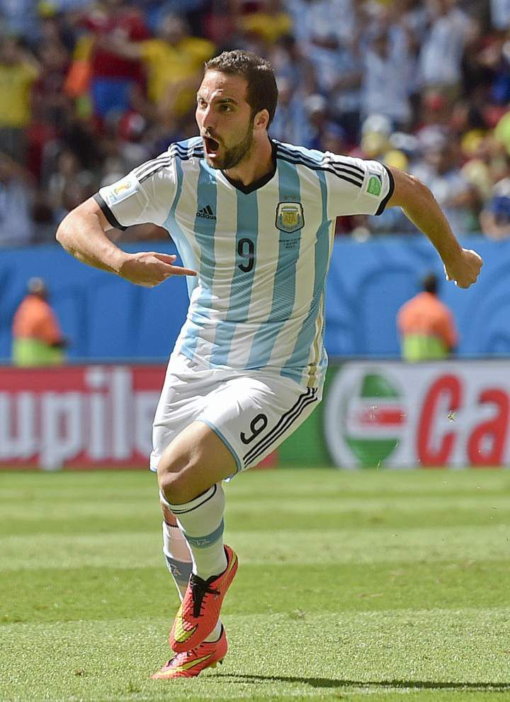 Gonzalo Higuain's early goal lifts Argentina to first World Cup semifinal since 1990 _lowres