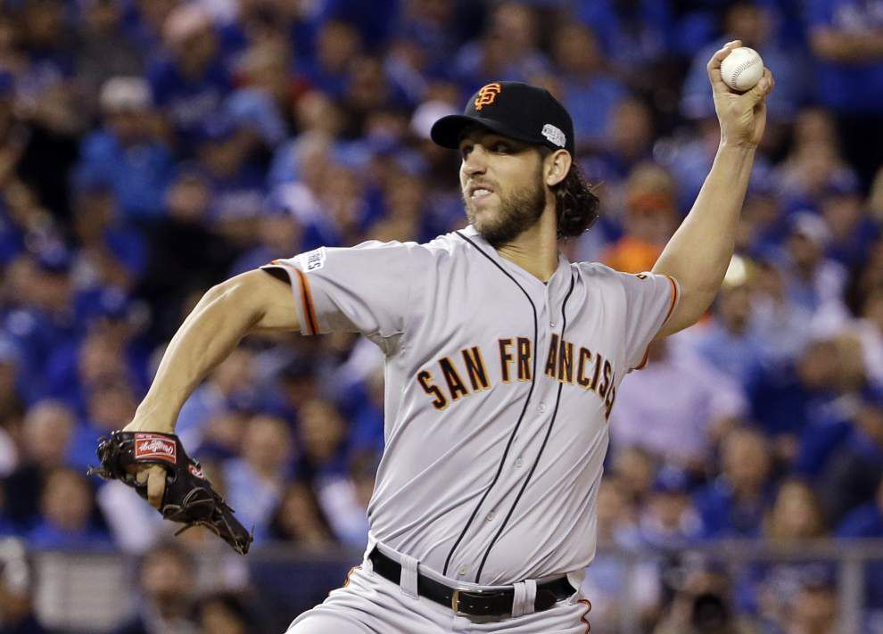 Madison Bumgarner, Giants stop Royals 7-1 in Series opener _lowres