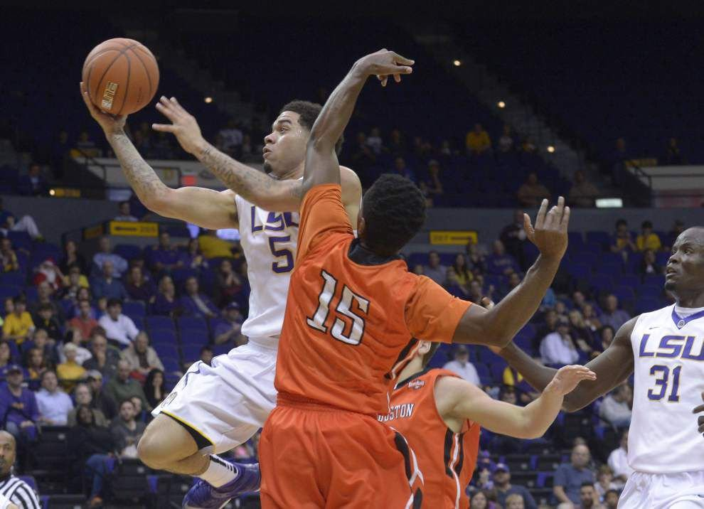 LSU guard Josh Gray injures his ankle in the Tigers' win against Sam Houston State _lowres