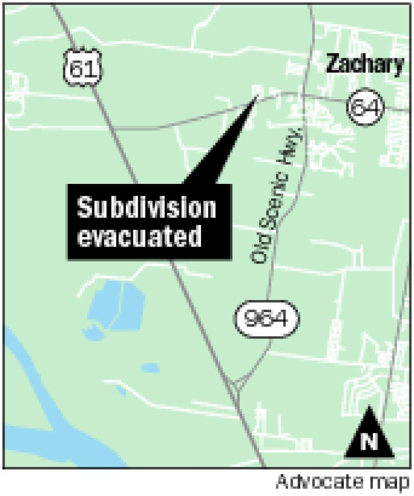 Residents of street in Zachary subdivision evacuated after underground gas line ruptures _lowres
