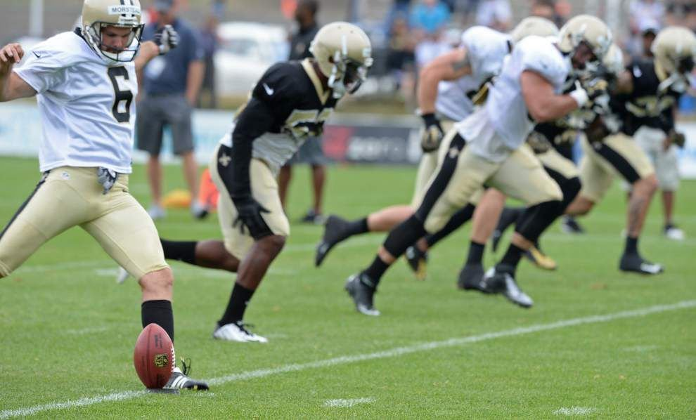 Brees in pads again but is still limited _lowres