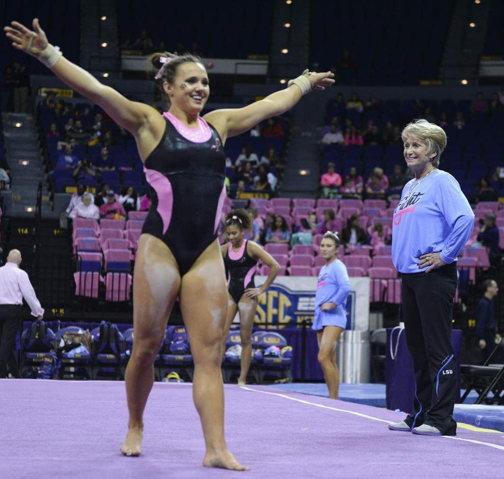 Ashleigh Gnat is the daughter of two gymnasts, and LSU is glad she stuck with the family business _lowres
